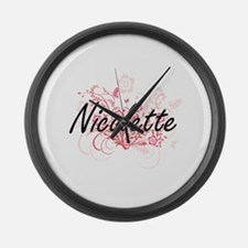 Nicolette Artistic Name Design wi Large Wall Clock