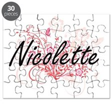 Nicolette Artistic Name Design with Flowers Puzzle