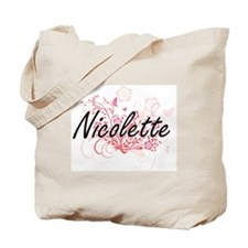 Nicolette Artistic Name Design with Flowe Tote Bag