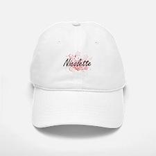 Nicolette Artistic Name Design with Flowers Baseball Baseball Cap
