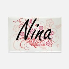 Nina Artistic Name Design with Flowers Magnets