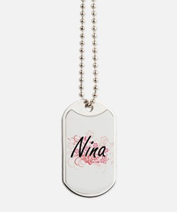 Nina Artistic Name Design with Flowers Dog Tags