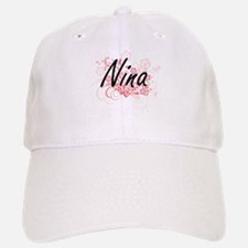 Nina Artistic Name Design with Flowers Baseball Baseball Cap