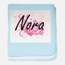 Nora Artistic Name Design with Flower baby blanket