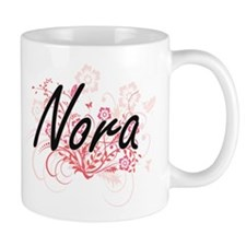 Nora Artistic Name Design with Flowers Mugs