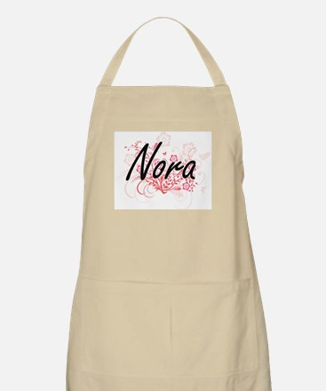Nora Artistic Name Design with Flowers Apron
