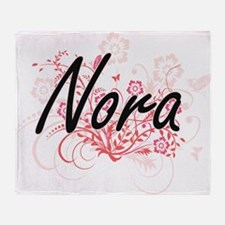 Nora Artistic Name Design with Flowe Throw Blanket