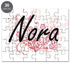 Nora Artistic Name Design with Flowers Puzzle
