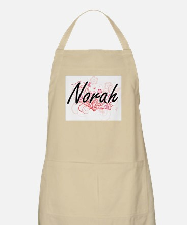 Norah Artistic Name Design with Flowers Apron
