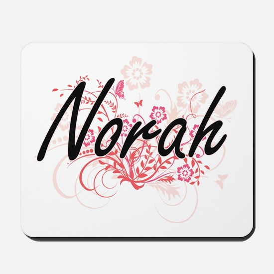 Norah Artistic Name Design with Flowers Mousepad