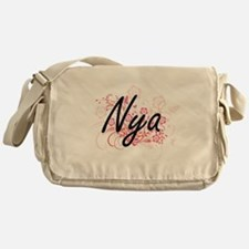 Nya Artistic Name Design with Flower Messenger Bag