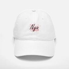 Nya Artistic Name Design with Flowers Baseball Baseball Cap