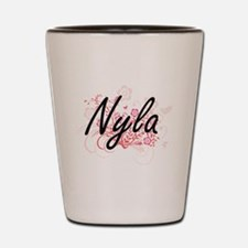 Nyla Artistic Name Design with Flowers Shot Glass