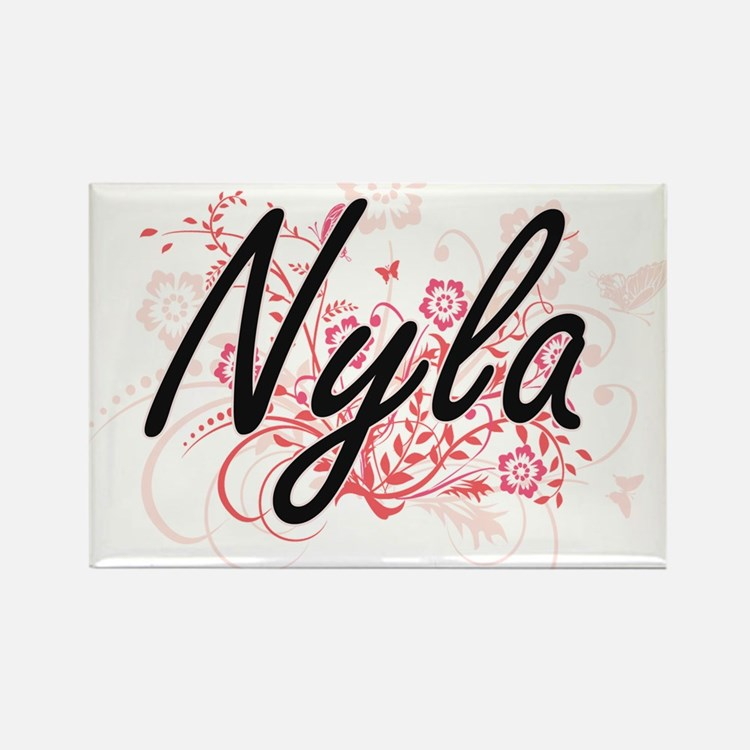 Nyla Artistic Name Design with Flowers Magnets