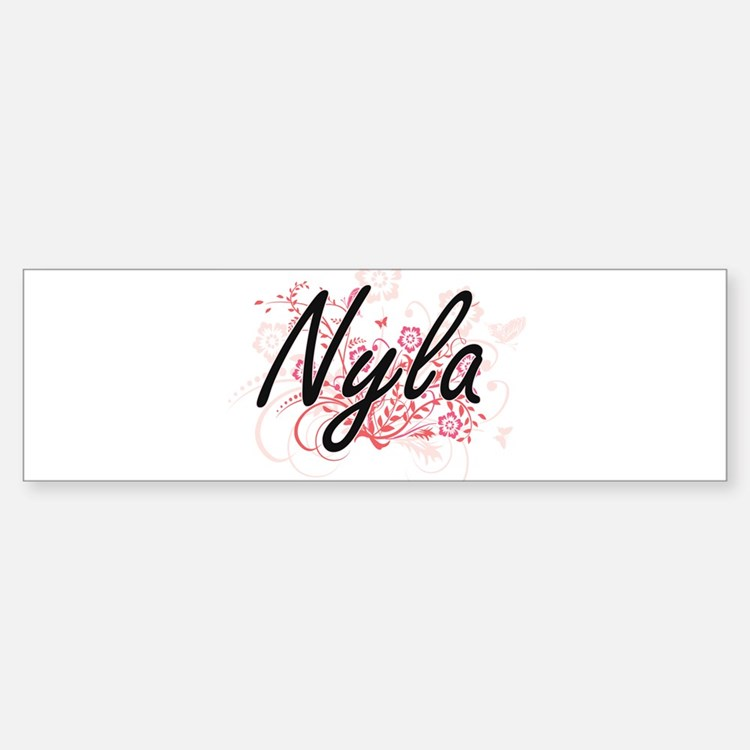 Nyla Artistic Name Design with Flow Bumper Bumper Bumper Sticker