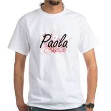Paola Artistic Name Design with Flowers T-Shirt