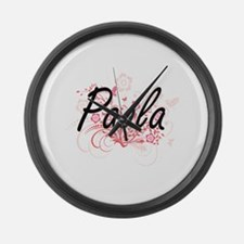 Paola Artistic Name Design with F Large Wall Clock