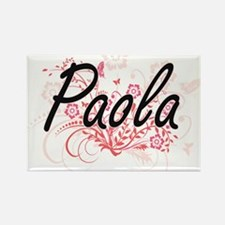 Paola Artistic Name Design with Flowers Magnets