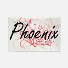 Phoenix Artistic Name Design with Flowers Magnets