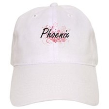Phoenix Artistic Name Design with Flowers Baseball Cap