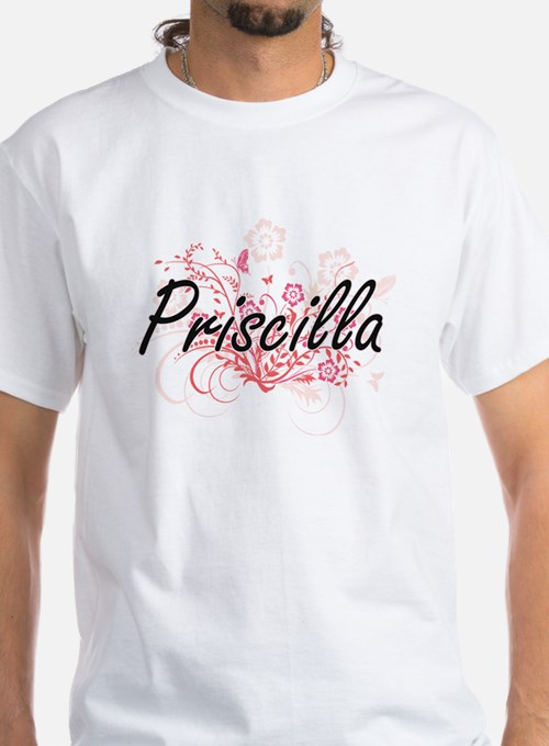 Priscilla Artistic Name Design with Flower T-Shirt