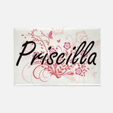 Priscilla Artistic Name Design with Flower Magnets