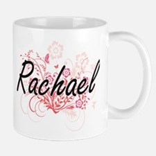 Rachael Artistic Name Design with Flowers Mugs