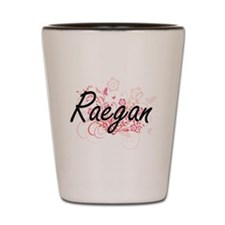 Raegan Artistic Name Design with Flower Shot Glass