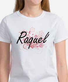 Raquel Artistic Name Design with Flowers T-Shirt