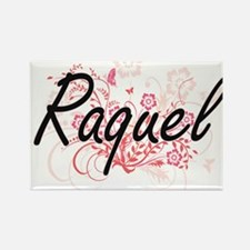 Raquel Artistic Name Design with Flowers Magnets
