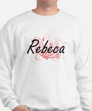 Rebeca Artistic Name Design with Flower Sweater