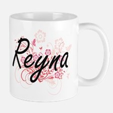 Reyna Artistic Name Design with Flowers Mugs