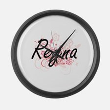 Reyna Artistic Name Design with F Large Wall Clock