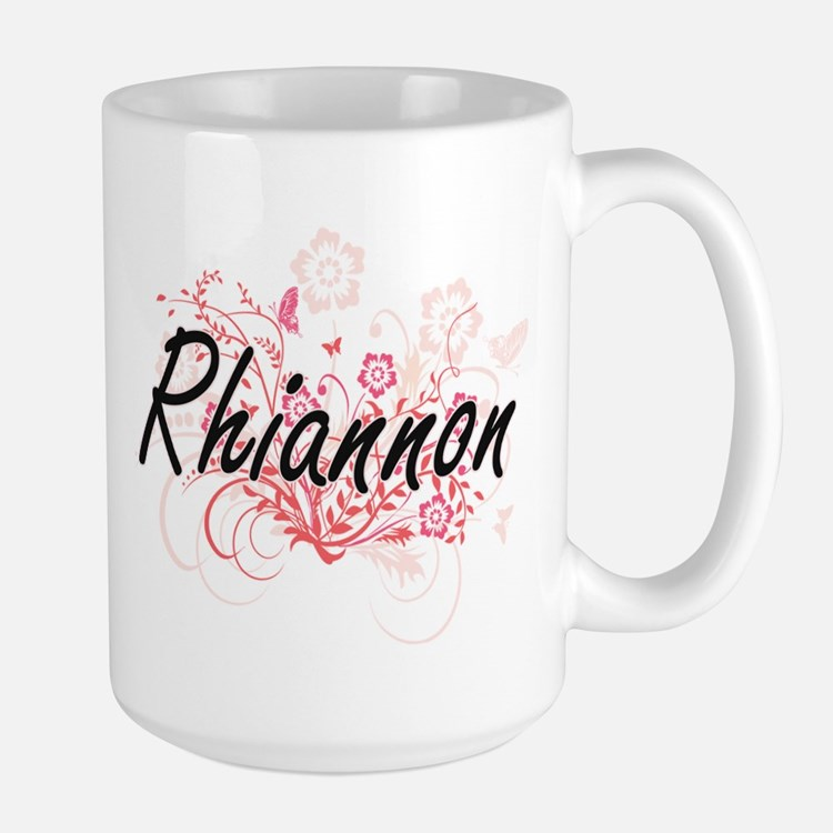 Rhiannon Artistic Name Design with Flowers Mugs