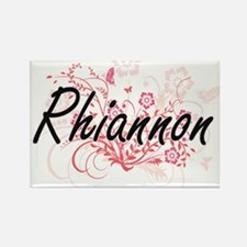 Rhiannon Artistic Name Design with Flowers Magnets