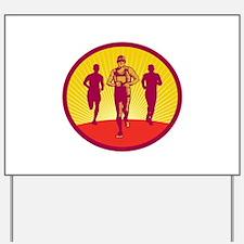 Marathon Runner Circle Woodcut Yard Sign
