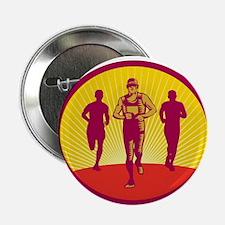 "Marathon Runner Circle Woodcut 2.25"" Button (10 pa"