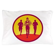 Marathon Runner Circle Woodcut Pillow Case
