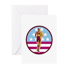 Marathon Runner USA Flag Circle Woodcut Greeting C
