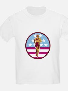 Marathon Runner USA Flag Circle Woodcut T-Shirt