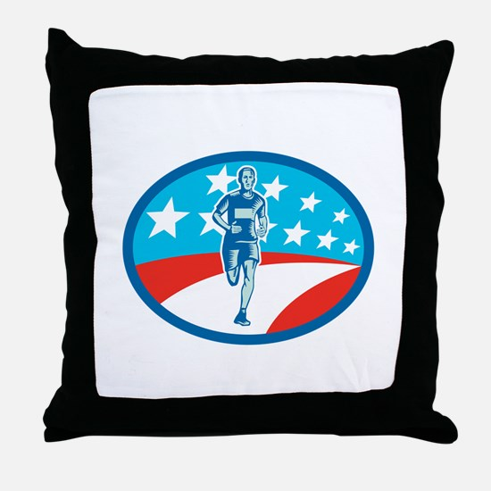 Marathon Runner USA Flag Oval Woodcut Throw Pillow