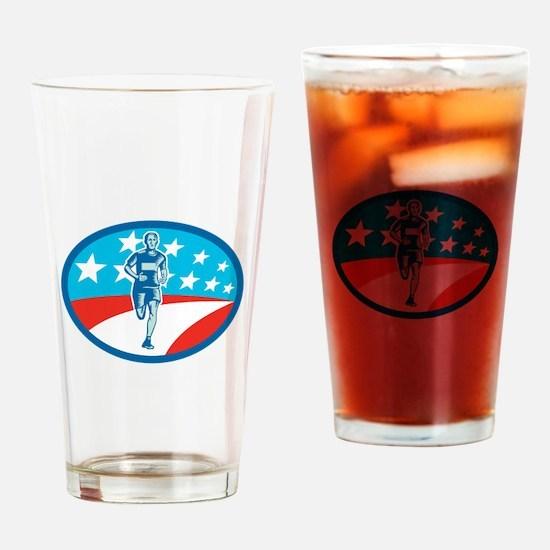Marathon Runner USA Flag Oval Woodcut Drinking Gla