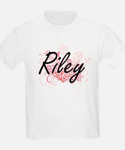 Riley Artistic Name Design with Flowers T-Shirt
