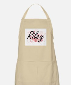 Riley Artistic Name Design with Flowers Apron