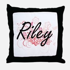 Riley Artistic Name Design with Flowe Throw Pillow