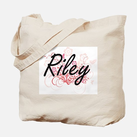 Riley Artistic Name Design with Flowers Tote Bag