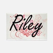 Riley Artistic Name Design with Flowers Magnets