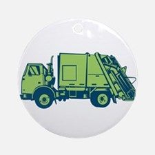 Garbage Truck Rear End Loader Side Woodcut Round O