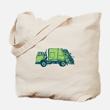 Garbage Truck Rear End Loader Side Woodcut Tote Ba
