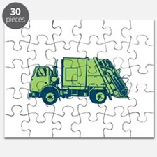 Garbage Truck Rear End Loader Side Woodcut Puzzle
